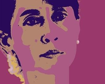 Aung San Suu Kyi print - canvas