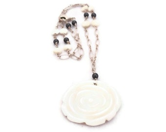 Mother of Pearl Carved Rose pendant sterling silver necklace