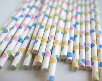 Pastel Polka Dot Straws - Retro Paper Straws - Bar Cart Supplies