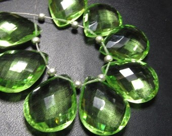 4 Matched Pair - AAAA - High Quality Gorgeous Grappes  colour Quartz Pear Briolett Super Sparkle Huge size - 15x20 mm - drilled