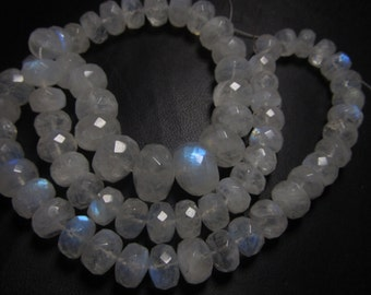 254 / Ctw - 17 inches Full strand Neckless - Gorgeous Rainbow MOONSTONE - Micro Faceted Rondell Beads huge size - 7 - 12 mm
