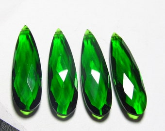 1-  Matched Pair - Super Sparkle -Dark CHROME Green QUARTZ - Faceted Pear Briolett Huge size 10x35 mm Long  - Drilled
