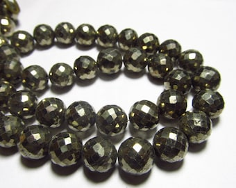 8 inches -AAAA - super diamond sparkle - golden - pyrite - micro faceted - Round Ball beads size 9 mm approx