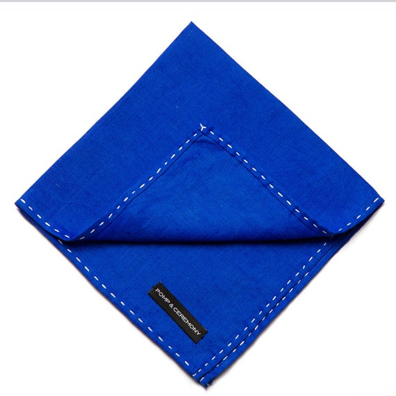Handkerchief Linen pocket square ultramarine blue hand finished contrast stitching