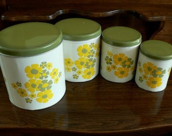 vintage tinware  ... set of FOUR yellow and green 70s GROOVY CANISTER Set ... Vintage household kitsch