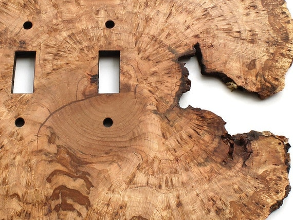 Cherry Burl Live Edge Double Light Switch Plates - Sustainable Harvest Wood . OOAK . Timber Green Woods