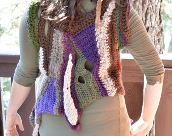 Freeform Crocheted Patchwork Vest with Earthtones and Purples