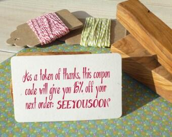 Custom Discount Code Olive Wood Stamp