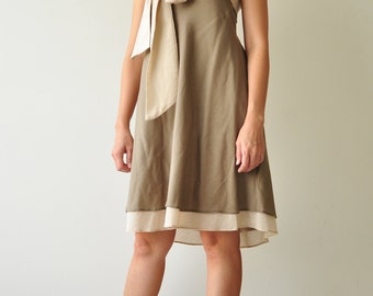 Two tone.... Brown Cream Cotton Dress 2 Sizes Available