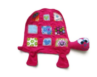 Security Blanket Lovie, Turtle Lovey, Baby Girl Soft Toy, Woobie, Pink Dot Minky Luvie, Baby Shower Gift READY TO SHIP