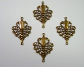 Antiqued Brass Victorian Filigree Earring Drops Findings Stampings -4
