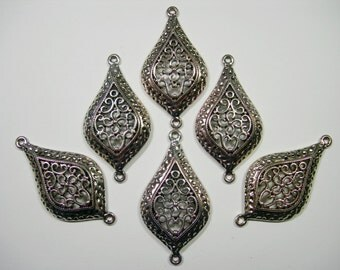 Antiqued Silver plated Filigree Drops Earring - Pendant - 46mm - 6