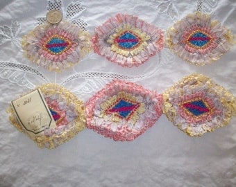Wonderful antique ribbon work appliqués