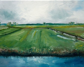 Canal Painting - Dutch Canal Painting - Original Oil Painting - Dutch Landscape - Dutch River Painting - Netherlands Canal Oil Painting -Art