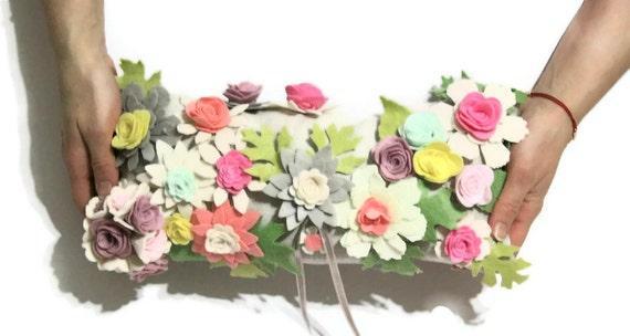 Beige Linen, Felt Flowered Pastel Pink, Yellow, Purple Colors, Rectangle Floral Wedding Ring Bearer Pillow