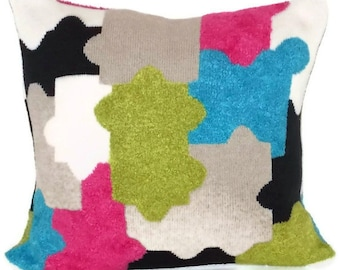 """Sweater Pillow Cover, Throw Pillow, 18"""" X 18"""" Pillow Cover, Turquoise, Lime Green, Hot Pink, Black, Khaki Puzzle Design"""