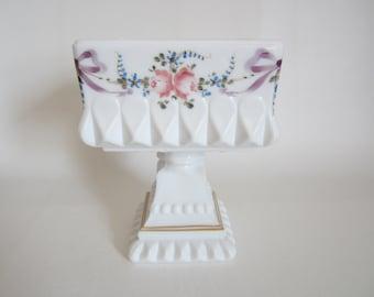 Vintage Westmoreland Pedestal Milkglass Candy Dish Wedding Box  Hand Painted