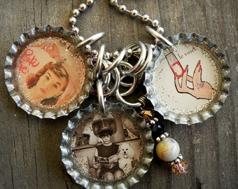 Beautician Themed Bottle Cap Necklace