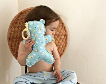 Flanel Stuffed Bear Toy with Detachable Wood Teething Ring / Baby Comforter