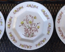 Three Prairie Flower NASCO Plates. Lovely Wildflower Flowers For Wall Decor. 3 Cake Plates. Wonderfully Crazed, Set of Vintage Plates