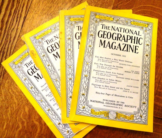 National Geographic, 1950s, Old Style Covers, Old Advertisements, 1952, 1953, 1954, Four Vintage National Geographic Magazines