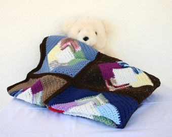 Scrap yarn afghan colorful granny square throw blanket diamonds triangles squares blocks brown blue home decor bedding coverlet winter decor