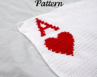 Ace of Hearts afghan PDF crochet PATTERN red white throw blanket Valentine poker card neutral home decor coverlet washable fun