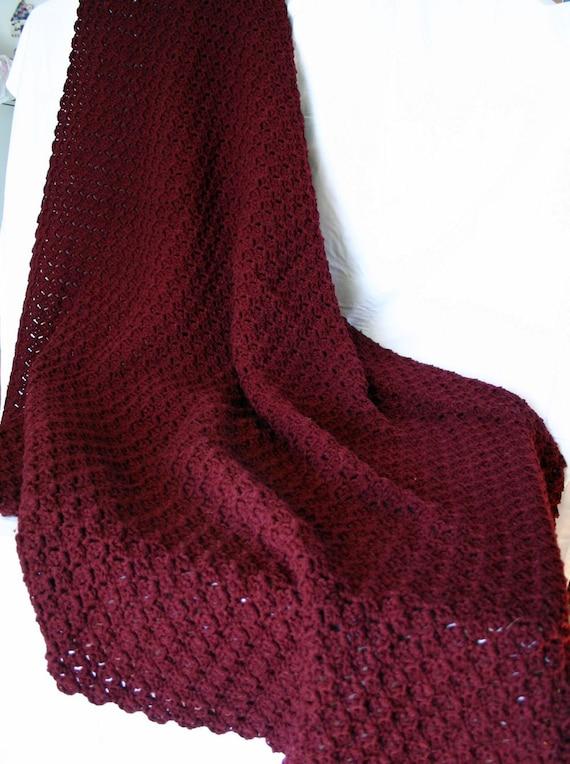 Crochet Afghan Burgundy Throw Textured Dark Red Coverlet