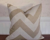 SALE ~ Decorative Pillow Cover: Chevron Zig Zag Design (2) 12 X 18 Accent Throw Pillow Cover in Natural for Pabyrd