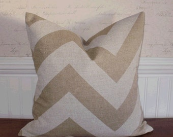 SALE ~ Decorative Pillow Cover: Chevron Zig Zag Design 18 X 18 Accent Throw Pillow Cover in Natural