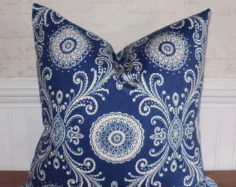 SALE ~ Decorative Pillow Cover: Designer 18 X 18 Accent Throw Pillow Cover in a Twilight Blue Henna Design