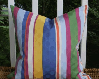 SALE ~ Outdoor Decorative Pillow Cover: Blue, Yellow, Green and Fuchsia Stripe 18 X 18 Outdoor Pillow Cover