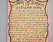 Southern sign with words of growing up Southern