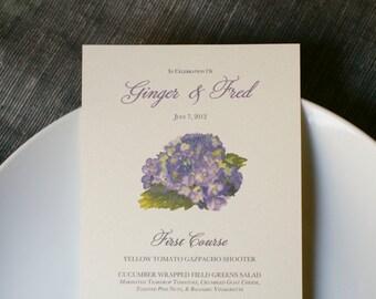 Purple Hydrangea Menu  - Purple Hydrangea wedding menu - Place cards, wishing tree, wedding decoration, baby shower, escort cards