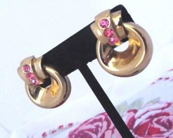 REDUCED PRICE Darling Art Deco Vintage Earrings Coro Pink Rhinestones Screwback