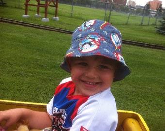 Toddler Hat, BUCKET HAT, Denim Hat, Train Hat, Boys Sun Hat, Thomas the Tank Hat, Reversible Sun Hat, Handmade Sun Hat, Sun Protection Hat