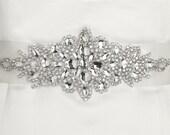 Crystal Bridal Sash with White Ribbon, Rhinestone Bridal Sash, Wedding Belt, Wedding Sash, Bridal Accessories