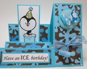 ICE Birthday  - side step Card - OOAK