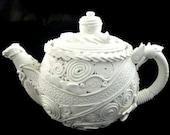 Teapot decorative art piece home decor white polymer clay unique