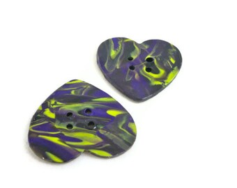 Purple and green heart sewing buttons