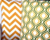 OUTDOOR Throw Pillows, Cushion Covers, Green Yellow White Indoor Outdoor Patio Pillows, Combo Set of Two 18 x 18