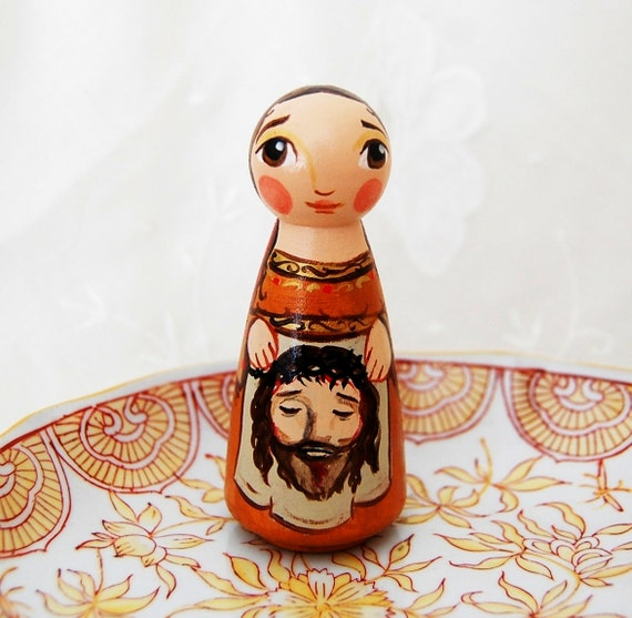 Saint Veronica with Christ's Face on Veil - Catholic Saint Wooden Doll - Made to Order