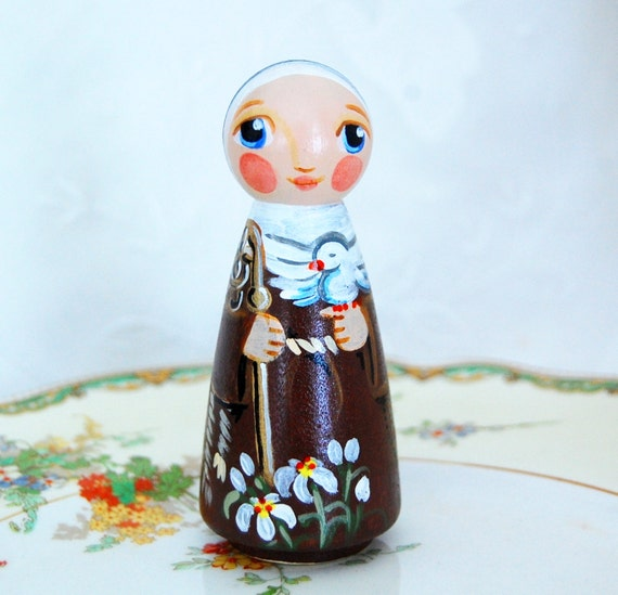 St Colette Catholic Saint Doll - Wooden Toy - Made to Order