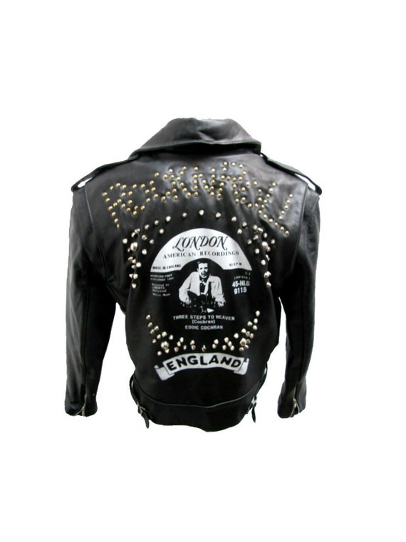 Vintage Rocker Motorcycle Jacket Mens Black Leather Eddie