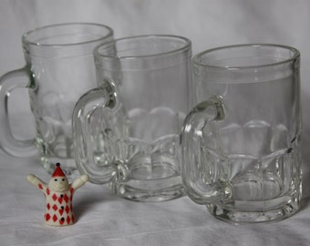3 Mugs Root Beer Milk Beer by Anchor Hocking Clear and Clean