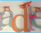 Wooden Letters, Baby Girl Nursery, Pink Aqua and Orange, HADLEY's Theme, Custom Name, Wood Letter Decor, Hanging Letters