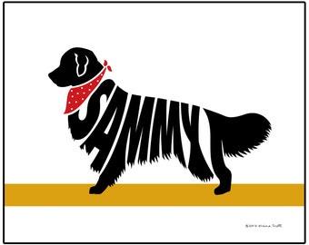 Personalized Golden Retriever Silhouette Print, Unique Dog Memorial Gift, Custom Retriever Name Art