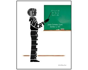 Personalized Male Teacher Silhouette Print, Unframed 8x10 Name Art, Teacher Appreciation Gift