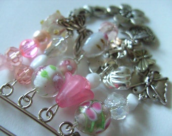 Pink, White and silver, Kilt pin, Brooch, Spring , butterfly, pastels, pink and white, blossom, by NewellsJewels on etsy