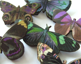Phantom Butterfly, wood butterfly brooch, purple, green, blue, by NewellsJewels on etsy